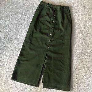 VINTAGE Olive High Waisted Midi Skirt
